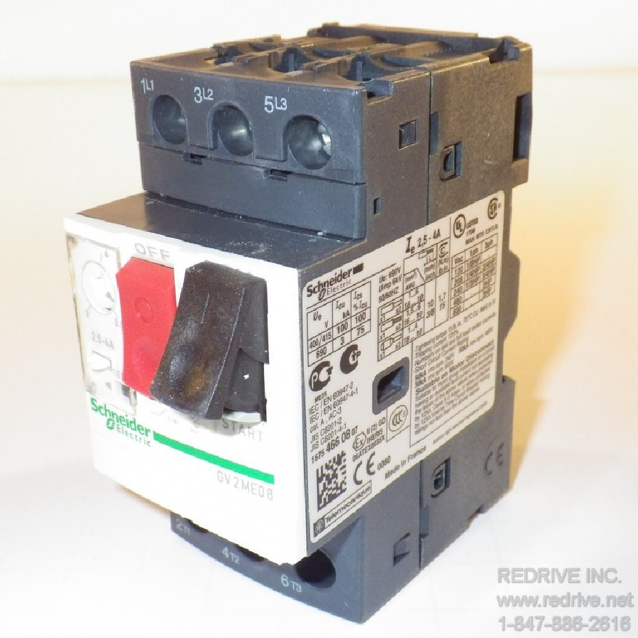 Gv2me08 Schneider Electric Motor Starter And Protector 40amp 600vac